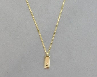 Gold Plated Initial J Necklace
