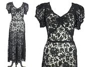 1930s Lace Dress, Vintage 30s Dress, Black Floral Lace Gown, 1930s Evening Dress, S - M
