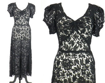 1930s Lace Dress, Vintage 30s Dress, Black Floral Lace Gown, 1930s Evening Dress, S - M