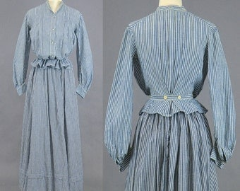 Edwardian Work Dress, Antique Striped Cotton Day Dress, 1900s Work Dress, 2pc Edwardian Skirt and Gibson Girl Blouse