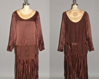 SALE Vintage 1920s Dress, 20s Flapper Dress, Brown Silk and Embroidered Net Gatsby Dress