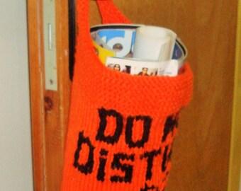 Do Not Disturb, Personalized Door Hanger Basket, Door Basket Jack O Lantern, Fall Gift, hand knit basket