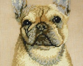 French Bulldog Needlepoint Canvas Preworked by Monica Imports