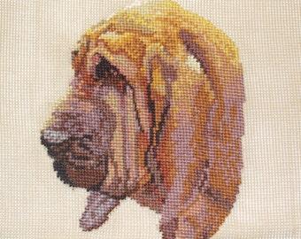 Bloodhound Dog Art on Preworked Needlepoint Canvas, Vintage Monica Imports