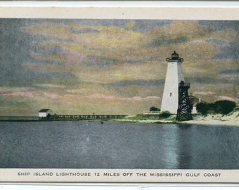 Ship Island Lighthouse Mississippi Gulf Coast postcard