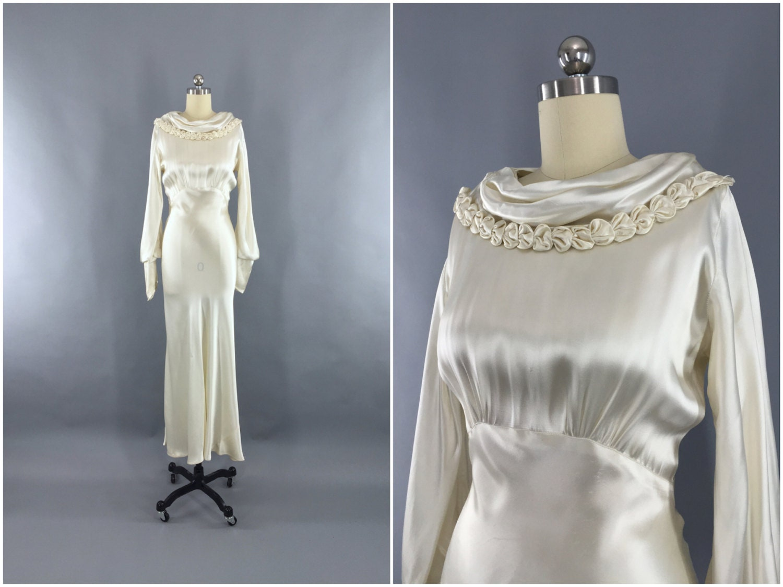 Vintage 1930s Wedding Dress 30s Bias Cut Dress 1930 Art