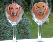 Custom Dachshund Pair Wine Glasses ~ Doxie Owner Gift ~ Birthday Gift ~ Custom Gift