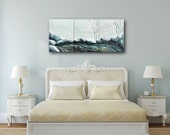 Large Triptych Painting of a Winter Lake with Boulders and Aspen Scene by Schad Studio