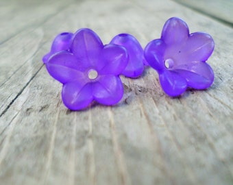 Lucite Flower Beads Purple Grape 12mm X 6mm 20pcs