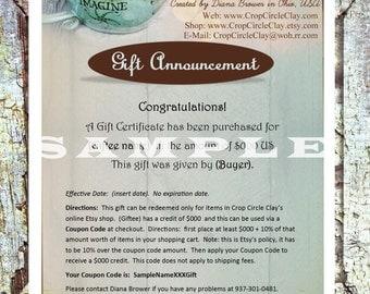 Handmade Pottery Gift Certificate 100 Dollar Gift Certificate - Crop Circle Clay - Email Gift Certificate - Ceramic Gift Certificate