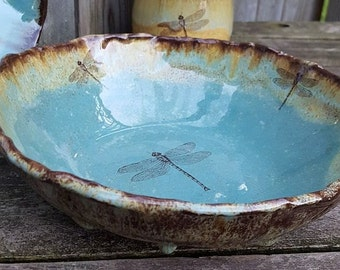 Dragonfly handmade ceramic bowl pottery dinnerware green blue brown Organic Earthy Rustic salad bowl pasta bowl handmade ceramics