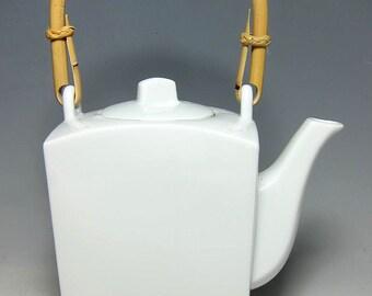 Japanese  White Rectangular  Teapot with Bamboo Handle