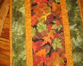 Fall Table Runner, Pine Cones and Leaves, Quilted Autumn Tablerunner, Thanksgiving Runner, Pine Cone Reversible Runner Quiltsy Handmade