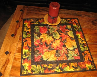 Autumn Green Gold Orange Leaves Quilted Table Topper, Table Square, Fall Table Decor, Wall Hanging, Round Table Topper, Handmade