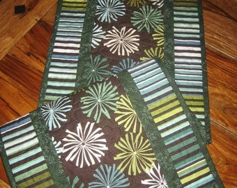 Quilted Table Runner, Contemporary Starburst Green Steel Blue Brown White Stripes, Abstract Contempo Design, Green Blue White, Handmade