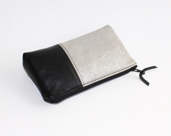 Small Leather Pouch. Leather Bag. Leather Make-Up Bag. Leather Cosmetic Bag in Black and Silver Leather