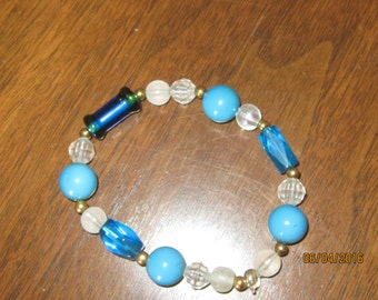 bracelet, handmade stretchy, with various blue beads