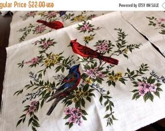 2 Linen Panels / Tea Towels - Unfinished Edges, Vinatge Pure Linen, Bird Motif Prints 13218