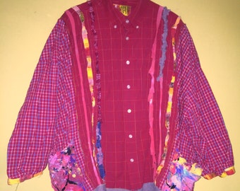 Cranberry up cycled plus size funky shirt jacket