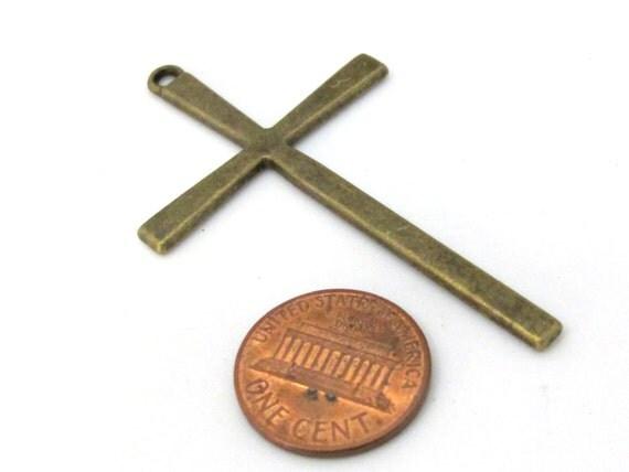 4 pendants - Large size Tibetan antiqued bronze tone cross charm pendant - CM163