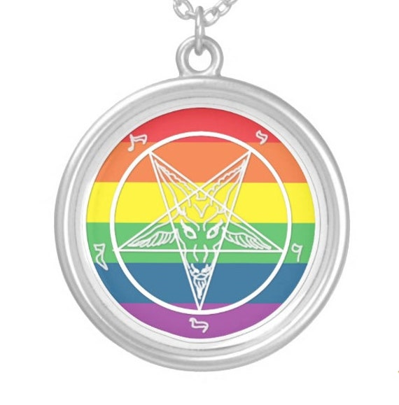 Rainbow Baphomet  pendant in sterling silver or silver plate