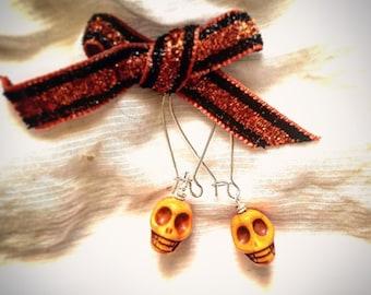 Halloween Orange Day of the Dead Sugar Skulls Dangle Earrings