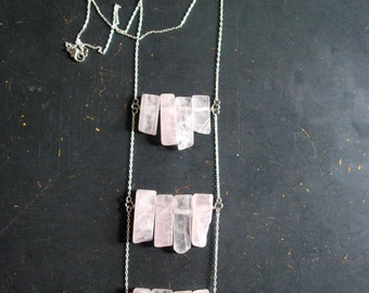 Free Shipping - Rose Quartz Breastplate Necklace - OOAK