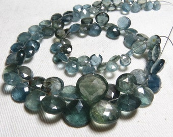 Truly Awesome  Amazing  Quality - Moss AQUAMARINE - super sparkle Faceted Heart Briolett - huge size - 6 - 15 mm - 14 inches Long