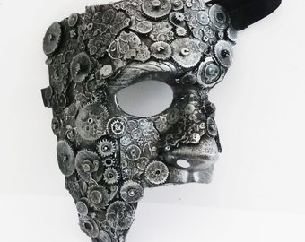 steampunk cogs phantom mascarade mask large.