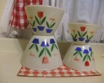 Beautiful Tulip Fire King Nesting Bowls