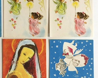 4 vintage Christmas cards - UNUSED - 1950s/1960s slim design cards for scrapbooking, junk journal, mixed media, letter writing