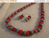 VALENTINES SALE Genuine Turquoise and Red Coral Disc Gemstone Two Toned Necklace and Earring Set - F044