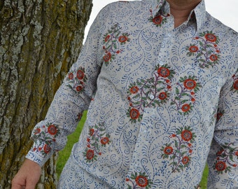 Men's Lightweight Hand Block Printed Indian Woven Cotton Long Sleeve Button Down Pocket Shirt - White Floral - Champei I876