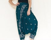 All Around The World...Printed Rayon Harem Pants Deep Teal