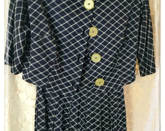 Beautiful silky Lynbrook dress jacket set with belt size small blue and white diamond stripe pattern gorgeous vintage buttons