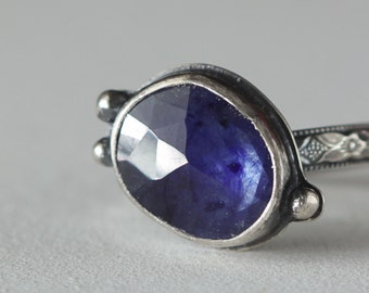 Tiny Blue Rose Cut Sapphire and Sterling Silver Ring, size 6  Boho Ring, Boho style, Genuine Sapphire