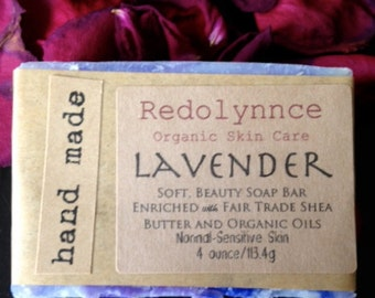 Lavender--Organic Soap.GMO free.Cruelty Free.Cold Process Vegan..Label free option