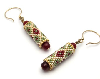Beaded bead earrings - diamond pattern earrings - beaded earrings - bead woven earrings - seed bead earrings - peyote stitch earrings