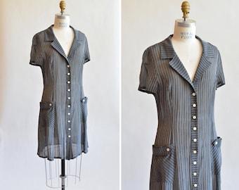Vintage 1980s PINSTRIPE shirt dress
