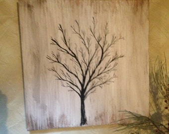 Winter Lath art tree picture