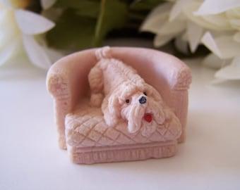 Vintage Salt Stone Dog in a Chair Miniature Figurine