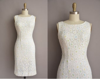 50s white cotton lace pastel floral vintage wiggle dress / vintage 1950s dress