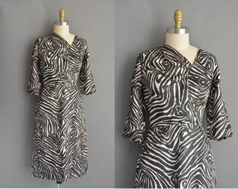 vintage 1950s dress silk zebra print wiggle dress