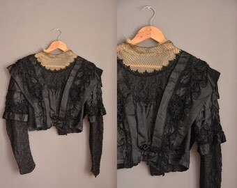 vintage 1910s blouse / metal chain neckline / antique Edwardian blouse