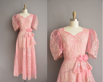 40s rare pink sequin puff sleeve vintage fantasy dress / vintage 1940s dress