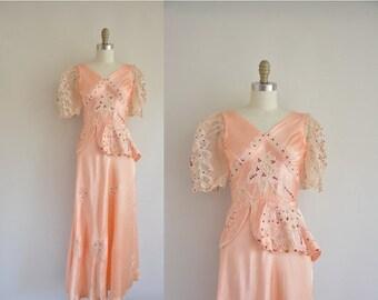Anniversary SHOP SALE... 1940s vintage dress / 1940s peach lingerie dress