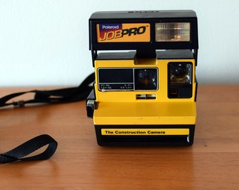 Vintage 1980's Polaroid Job Pro 600 Construction Camera with Built In Flash - Tested and Working
