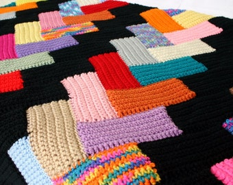 Crochet afghan scrap yarn throw blanket quilt style home decor black colorful bedding red orange yellow green blue purple pink brown