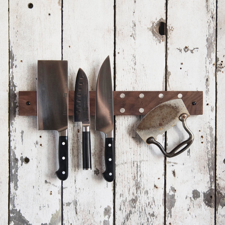 Mess Hall Knife Rack Wood Knife Holder Magnetic Knife Block