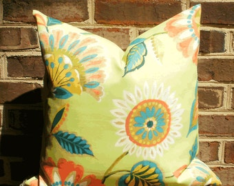 SALE ~ Decorative Outdoor Pillow: 18 X 18 Lime Green Floral Outdoor Pillow Cover